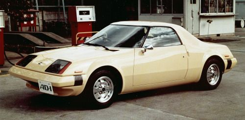 http://chicerman.com  carsthatnevermadeit:  Nissan AD 1 concept 1975. AD for Advanced Design the AD1 was an aerodynamic mid-engined prototype which had a 0.26 drag coefficient (cd). Cooling air was channeled from the front of the car to the central engine avoiding the need for side-scoops which would have interrupted the smooth flow of air over the cars flanks  #cars