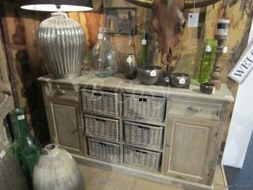 J-Line Landelijke dressoir met 6 rieten manden grey wash 158