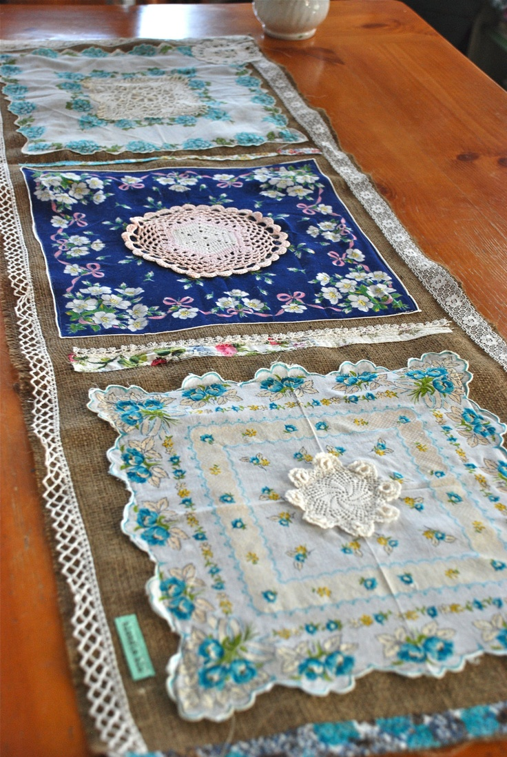 Table runner made from burlap and vintage hankies.  Cute idea!