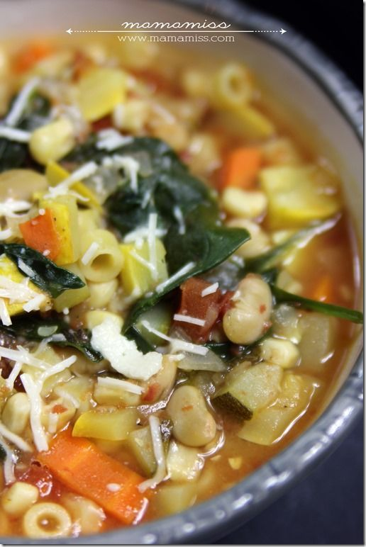 Seven Vegetable Minestrone Soup Recipe ~ it's super yummy, chocked FULL of veggies, so healthy.