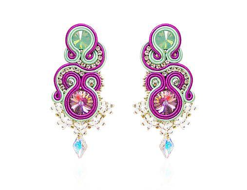 bazu / Mentolovo-fialové náušnice  #nausnice #earrings #slovenskydizajn #handmadepodnikanie #handmade #fashion  #soutache  #mint  #mintgreen #purple
