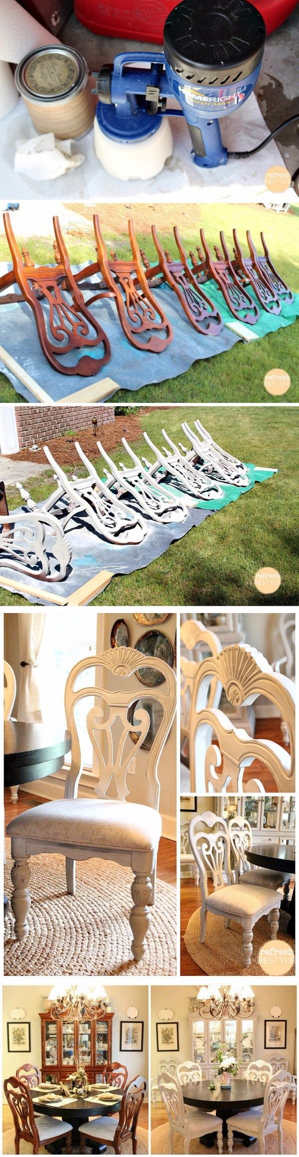 Spray Painted Dining Chairs. Spray paint furniture makeover. Turn the old ugly dining chairs into these gorgeous ones with chalk based paint! It is super easy to do with a bit of handiwork and creativity!