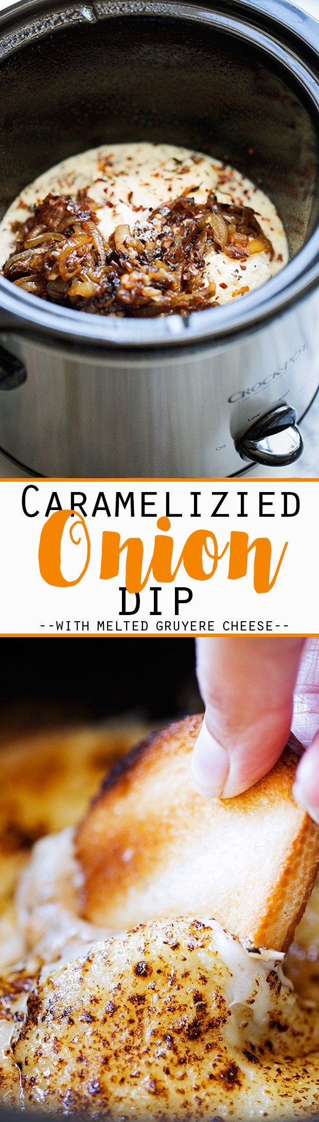 Hot Caramelized Onion Dip {Slow Cooker} - An easy dip to serve to party guests…