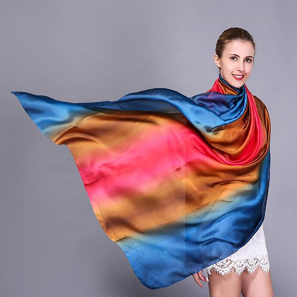 Women Splicing Colors Soft Silk Scarf Summer Outdoor Sunshade Beach Towel at Banggood