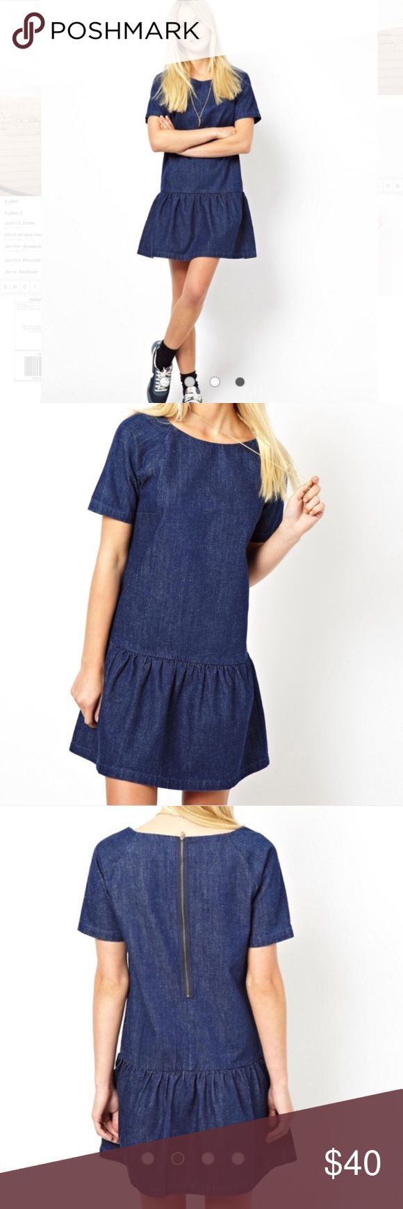 "💙ASOS💙PREMIUM DENIM DRESS W/DROP WAIST💙 Rock this super cute drop waist dress from ASOS Denim! Short sleeves back exposed zipper. Nice speckling of white throughout. Woven cotton Crew neck•Ruffle hem•Regular fit - true to size Machine wash•100% CottonOur model wears a UK 8/EU 36/US 4 and is 178cm/5'10"" tall Score a wardrobe ASOS our London-based design team scour the globe to nail your new-season fashion goals with need-right-now dresses!!! Measurements taken flat bust 17"", waist A little…"