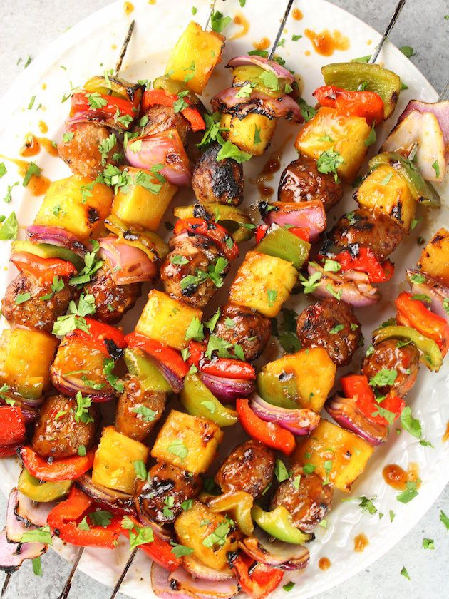 Your new easy go-to summer meal!  With fresh pineapple, red & green peppers, red onions, Teriyaki Ginger Chicken Meatballs & homemade Teriyaki sauce.  http://tasteandsee.com  via @h_tasteandsee