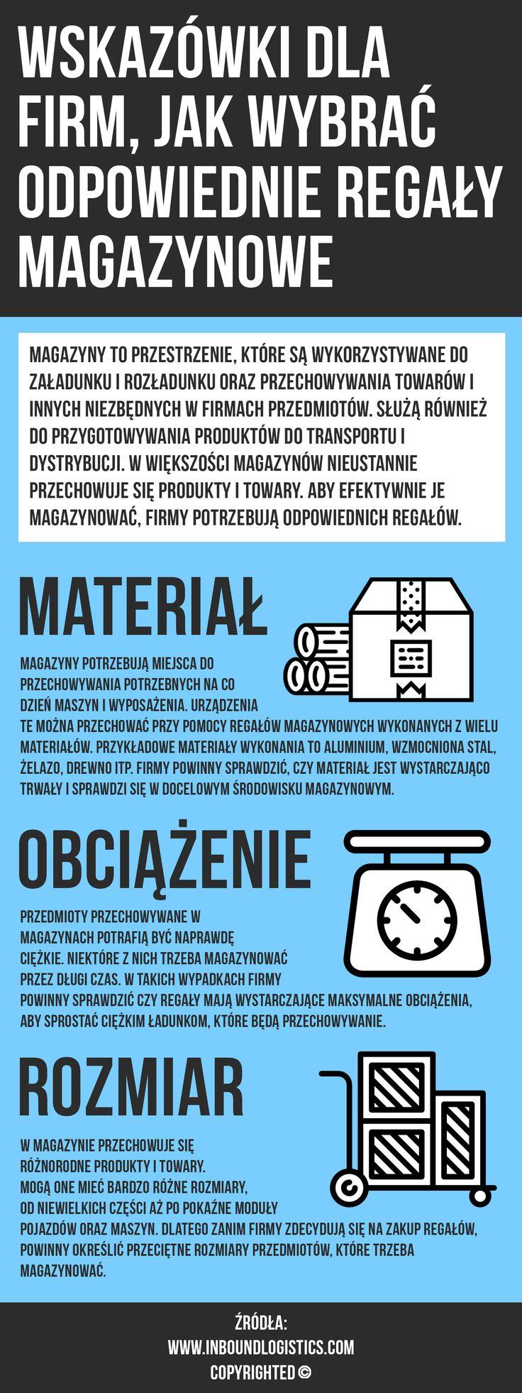 Regały magazynowe to doskonałe rozwiązanie do przechowywania firmowych towarów, produktów, sprzętu, maszyn itp. Przed zakupem regałów firmy powinny przemyśleć czynniki takie jak obciążenie, materiał wykonania, wymiary, rodzaj itp.