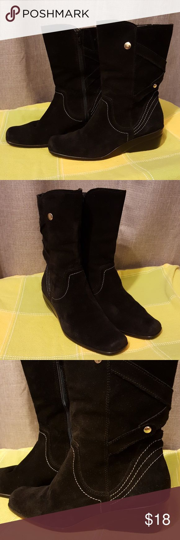Andrea Suede Wedge Ankle Boots Andrea black suede wedge ankle boots, side zippers. Wedge height 2 inches + 8 inches height from bottom wedge to upper ankle. In clean and excellent condition. Made in Mexico. No box included Andrea Shoes Ankle Boots & Booties