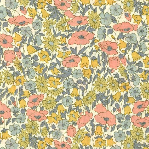 Vintage Liberty of London. Poppy and Daisy Mustard Peach Liberty Tana by Alicecarolinesupply, $8.75. Stocking up on fat quarters for my fabric store!