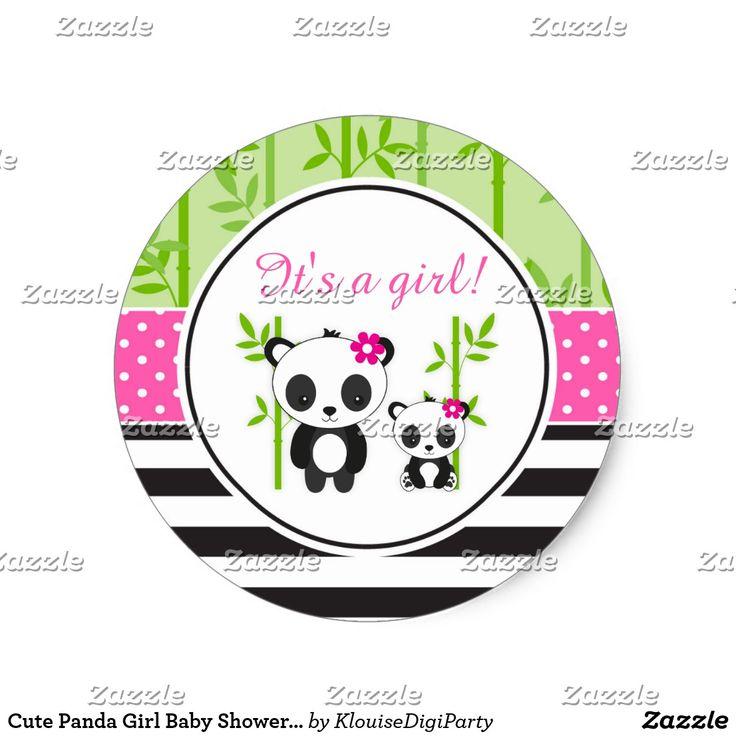 Cute Panda Girl Baby Shower It's A Girl Classic Round Sticker
