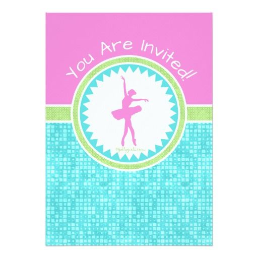 Golly Girls Tri-Pastel Color Dancer With Aqua Tile Birthday Party Invitation