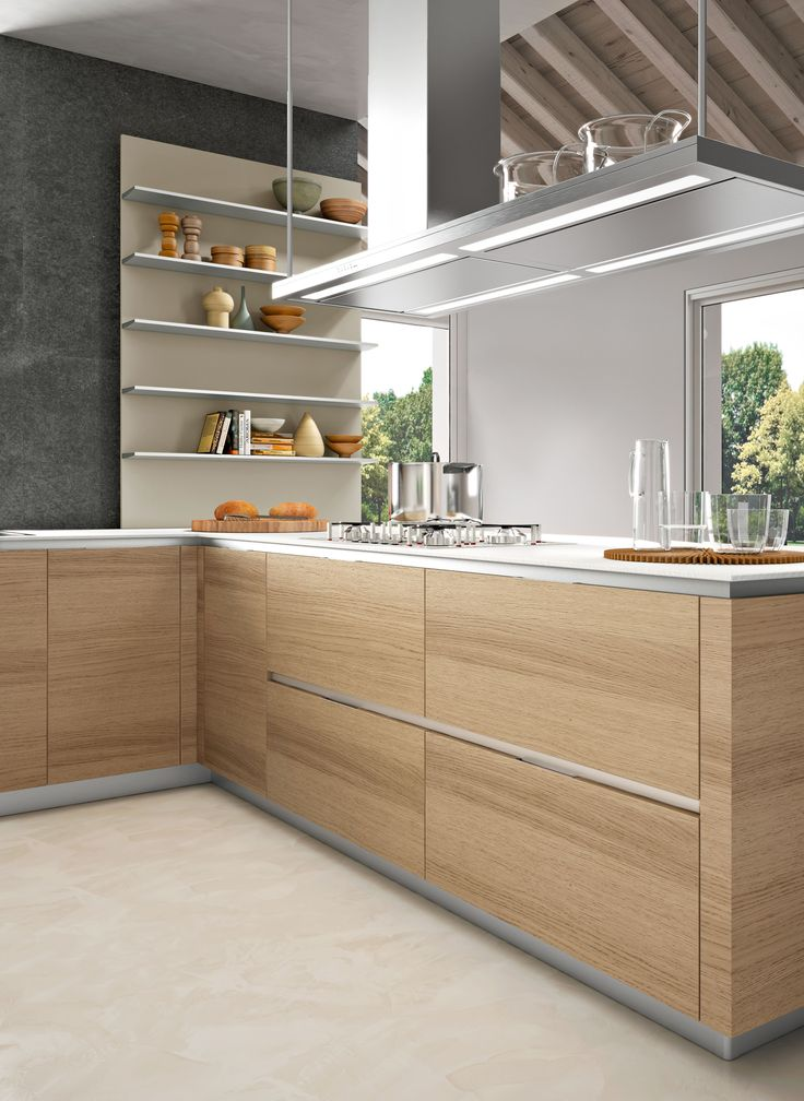 Balanced And Meditative Calm, Snaidero ORANGE Kitchen Design Offsets The  Influence Of Cold Surfaces With The Elegance Of Natural Oak Cabinet Doors.