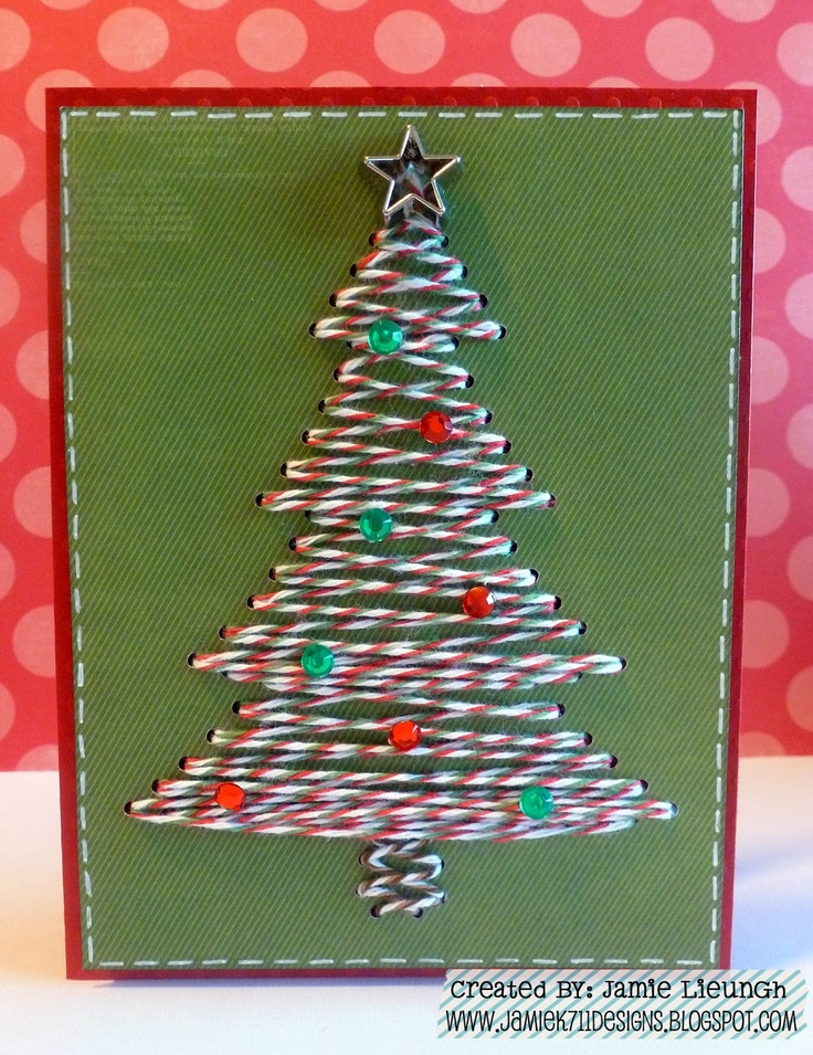 Twine It Up! with Trendy Twine: Merry Christmas Eve! Trendy Tree Card. Uses the rhinestone feature on the Silhouette to create the holes. #twine #silhouette #cameo