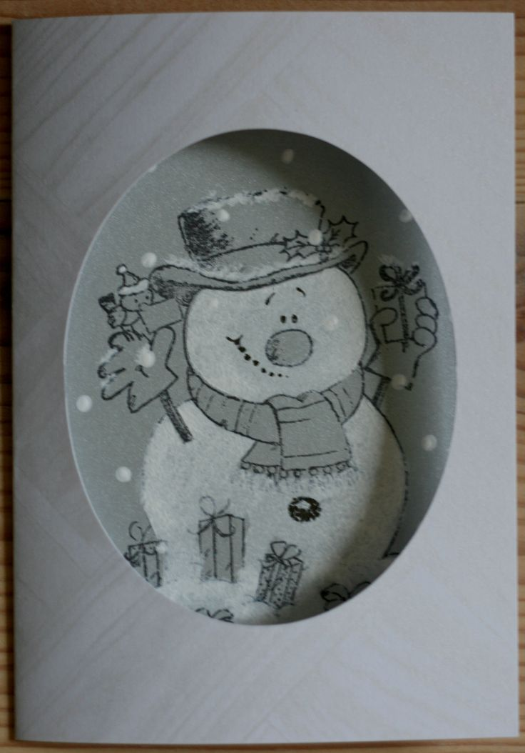 "Another gesso snowman! Very simple, made a mask to cover the background. Used cotton swabs to make snow. ""Craft UK"" Rubber stamping, Christmas Cat"