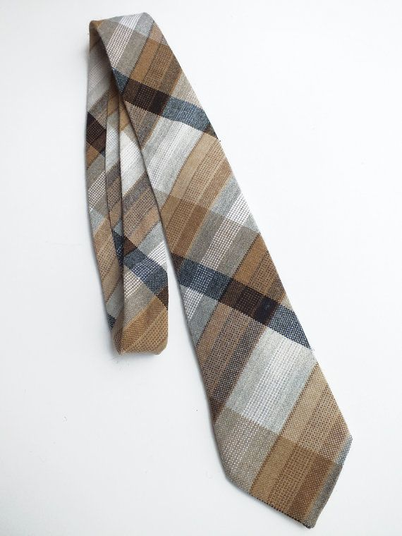 Vintage Seventies Woven Checked Neck Tie by goodiesoldies on Etsy