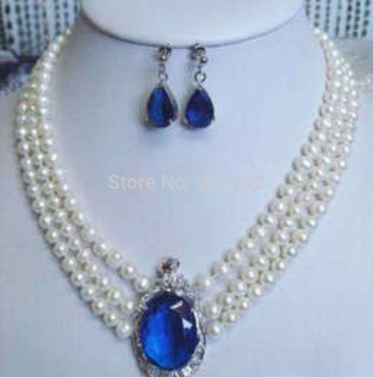 Свободное P и P >>>> 3 рядов белый жемчуг сапфир ожерелье серьги 17  - 19  S + FA + A + D + ASF ++ DS + D