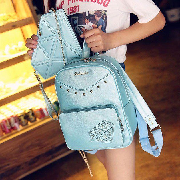 Sweet Rivet PU School Rucksack Diamond Zipper Backpack Gift Small Shoulder Bag
