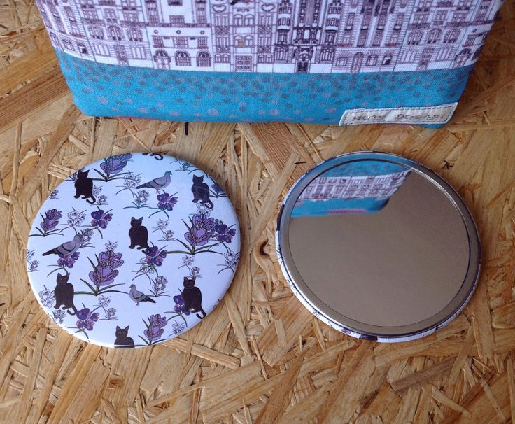 Lilly and the pigeon large pocket mirror, black cat, crocuses, pigeons, perfect gift by NatyDesignPrague on Etsy