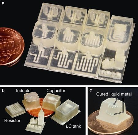 To create sensitive electronic components by means of 3D-printing, the UC Berkeley team fabricated polymer structures...