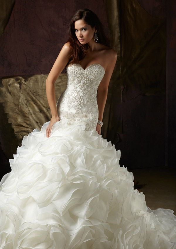 Ruffled Fluffy Mermaid Wedding Dresses With Pearls And Sequins Custom Made Bridal Gown on Luulla