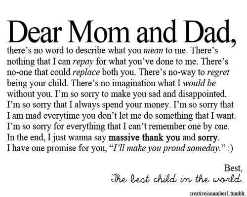 Dear Mom And Dad #sorry #child #thanks