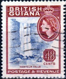 British Guiana 1954 Queen Elizabeth II SG 337 Kaieteur Fine Used SG 341 Scott 263 Other Waterfall Stamps Here