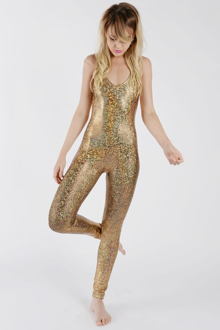 GOLD DISCO MERMAID CATSUIT IN HOLOGRAPHIC SPARKLE