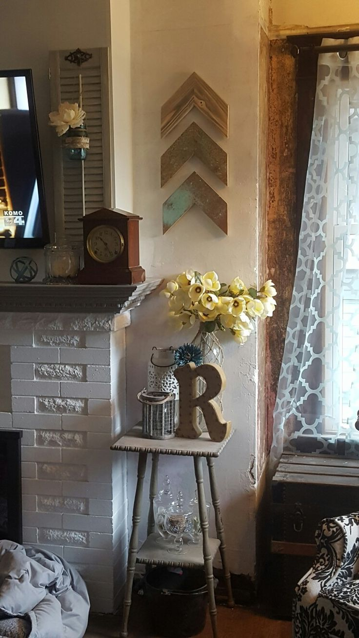 Reclaimed wood chevron arrows copper patina teal light blue monogram magnolia blossoms farmhouse house remodeling mantel clock fireplace -- Made by RachaelCharity --