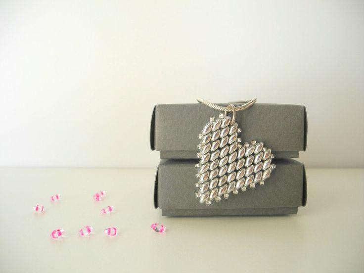heart pendant, silver beaded heart pendant ,Beadwork, minimalist pendant, heart charm,silver necklace