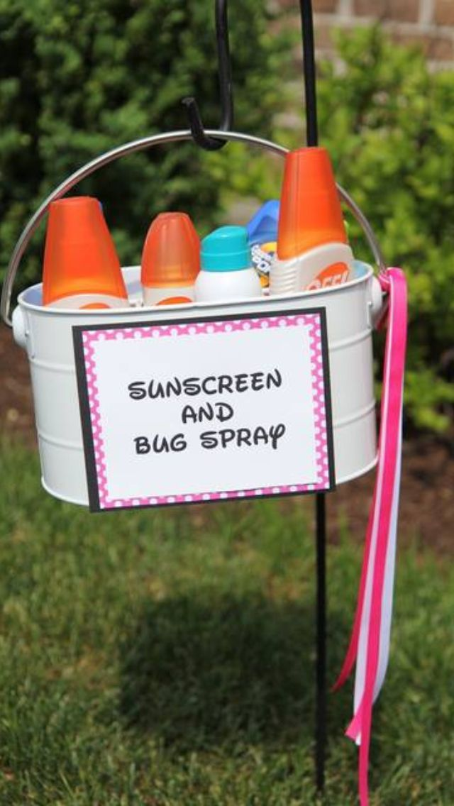 Having an outdoor party? protect your guests with a stand containing skin care and sun care essentials! Your party will be all fun and no harm!