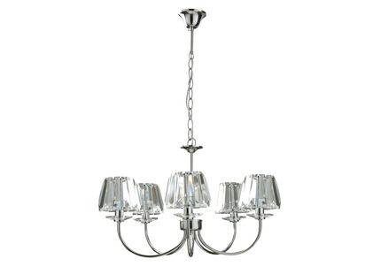 Capri Chrome 5 Light Chandelier with Clear Glass Shades