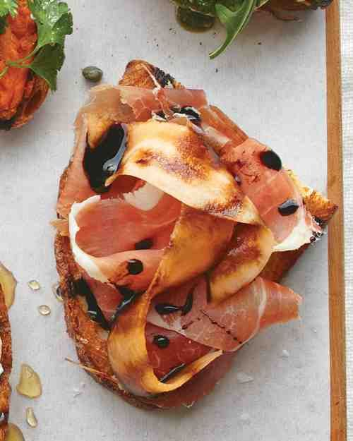 The classic pairing of sweet melon and salty prosciutto is enhanced by a splash of vinegar.