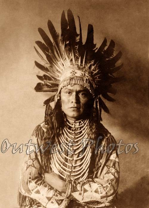 1890's Native American Indian Chief Wearing A Amazing Headdress