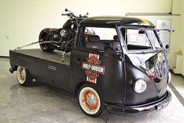 Harley Davidson VWBus Single Cab Splitty ☮ re-pinned by http://www.wfpblogs.com/author/southfloridah2o/