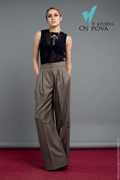 Mod panties / Брюки, шорты ручной работы. Ярмарка Мастеров - ручная работа. Купить Широкие брюки. Handmade. Серый, брюки широкие