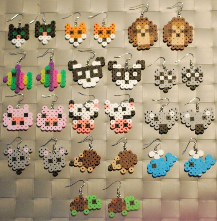 Animal Perler Earrings or Keychain Cat Fox by merkittenjewelry