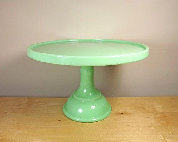 Jadite 10 inch Cakestand Fenton Glass for Martha Stewart's Martha by Mail by TheGreenFinch on Etsy, $250.00