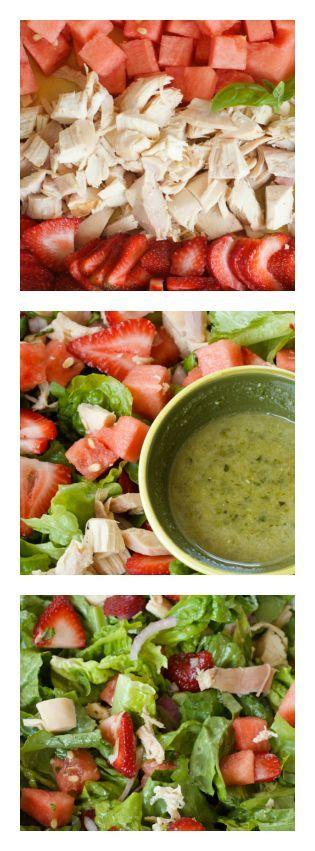 Summertime Strawberry Watermelon Chicken Salad reluctantentertainer.com #salad #strawberries #watermelon