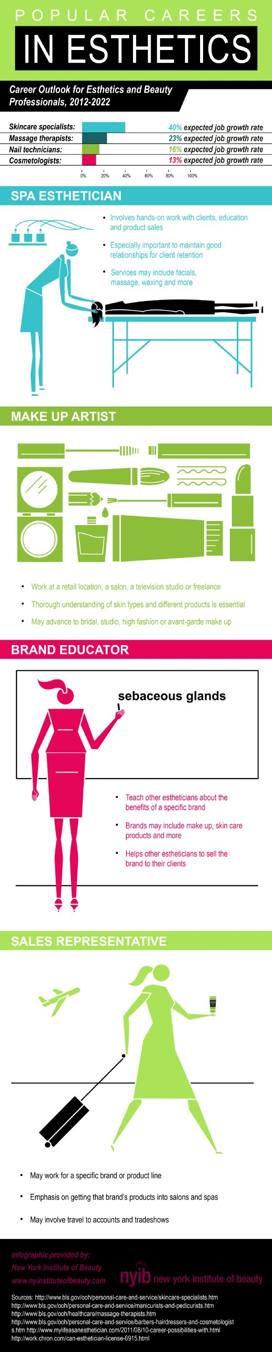 Popular Careers in Esthetics   #Infographic #Career  #Esthetics
