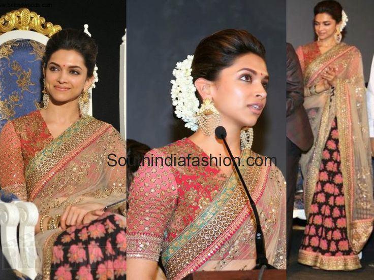 Deepika Padukone @ Kochadaiyaan Audio Launch Celebrity Sarees, Designer Sarees, Bridal Sarees, Latest Blouse Designs 2014 South India Fashion