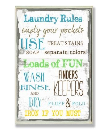Laundry Rules' Wall Plaque