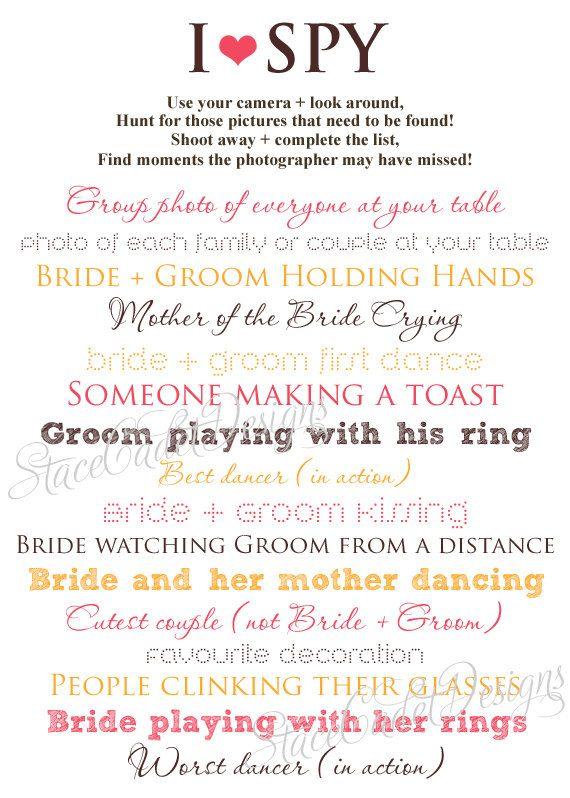 Custom Printable I Spy Wedding Photos Card by StaceCadetDesigns, $15.00