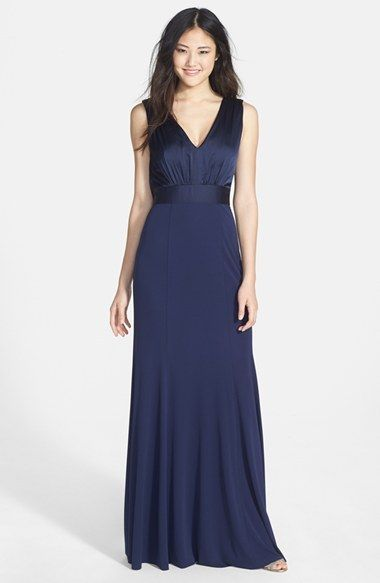 Vera Wang Scoop Back Charmeuse & Jersey Gown on shopstyle.com