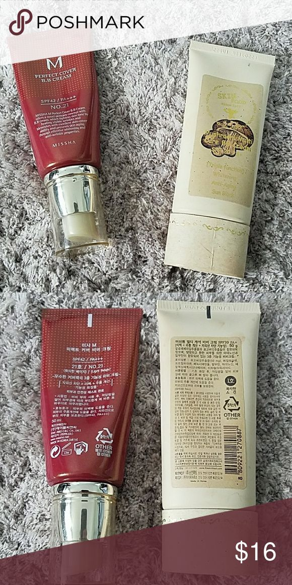 Korean BB Creams Both almost full, only used a few times before realizing the shades weren't for me! Missha Perfect Cover BB Cream in shade no. 21. Skinfood Mushroom Multicare BB Cream in shade no. 2. Missha Makeup Foundation