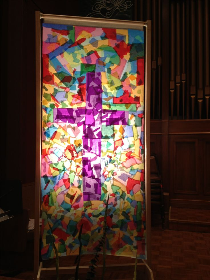 Love this idea for a prayer station. First Presbyterian church of Medford, mending torn relationships.  The previous Sunday parishioners tore squares of tissue paper, this Sunday we displayed the pieces mended with a cross in the center.