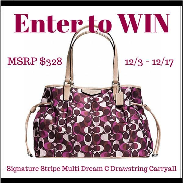 Enter to win a COACH Signature Stripe Multi Dream C Drawstring Carryall 12/3 - 12/17 (MSRP $328)
