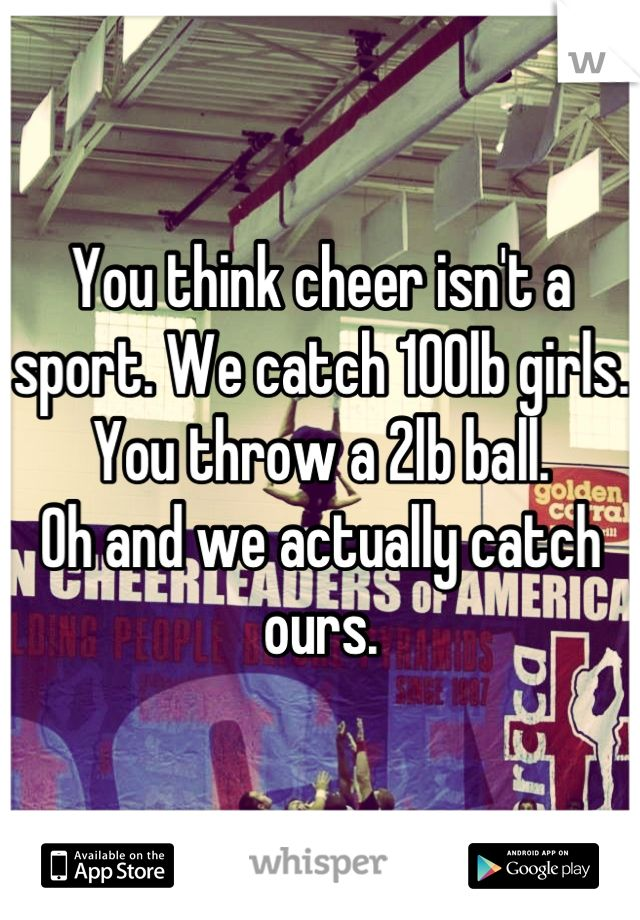 cheerleading is not a sport I fear for sport i don't mean that i shake, lose sleep and worry in order to make a smoothie from my competitive juices no, i simply worry that certain activities.