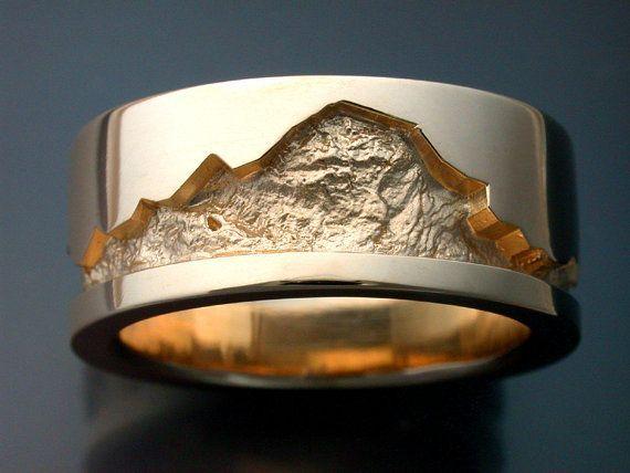14k gold man's wedding band with rock by Metamorphosisjewelry, $1440.00...