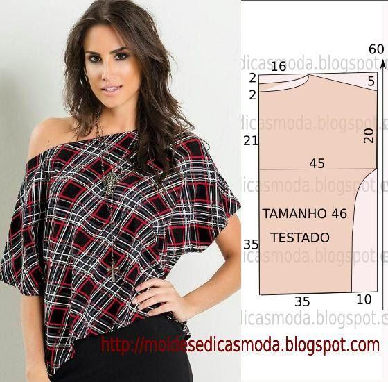PASSO A PASSO MOLDE DE BLUSA O molde de blusa casual encontra-se no tamanho 46. Nota: A ilustração do molde blusa não tem valor de costura. Corte um retâng