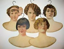 Lot of 5, c1920 SILENT FILM MOVIE STAR COLOR LITHO PROMOTIONAL CLOTHING HANGER s